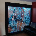 H2o designs bubbling wall at the Manzil Restaurant with colour changing lighting.